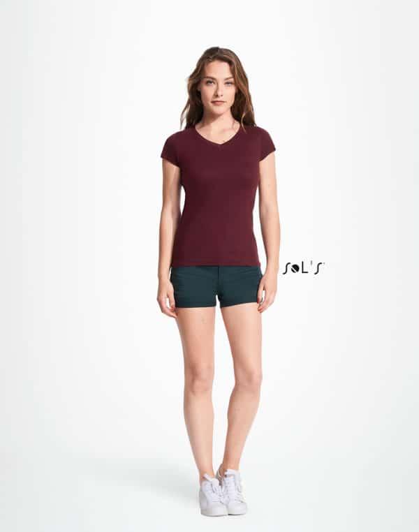 T-Shirt V-Neck, Frauen, SOL'S, Front - Hauptstadt Print 24